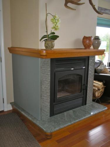 Black fireplace with tile in anchorage alaska