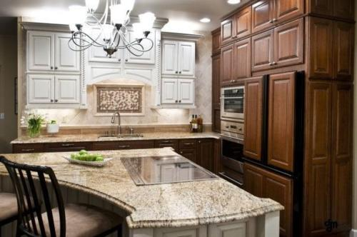 full kitchen with island tile counter anchorage alaska